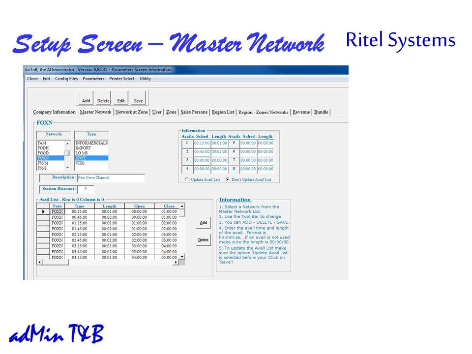 Setup Screen – Master Network