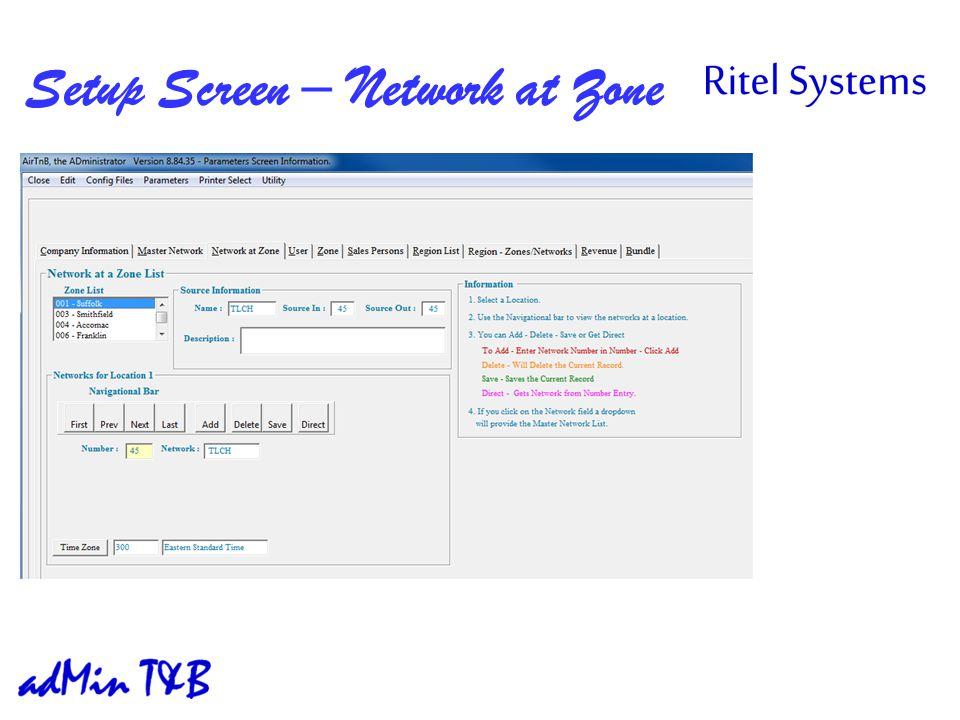 Setup Screen – Network at Zone