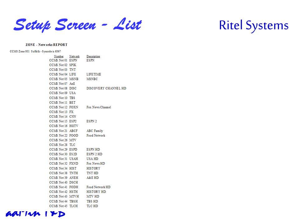 Setup Screen - List