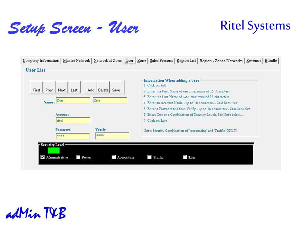 Setup Screen - User