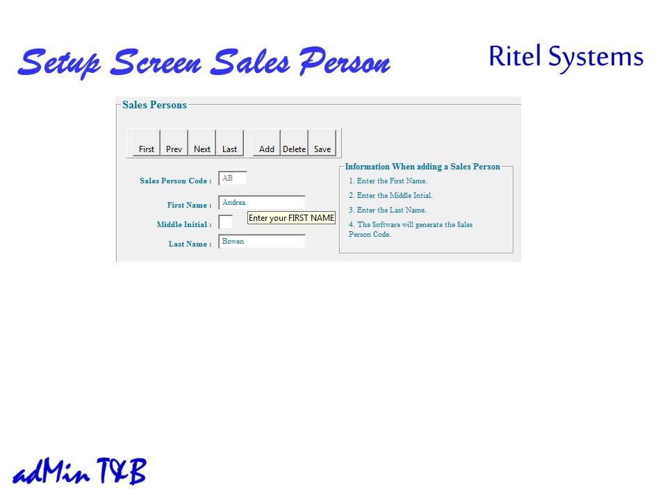 Setup Screen Sales Person