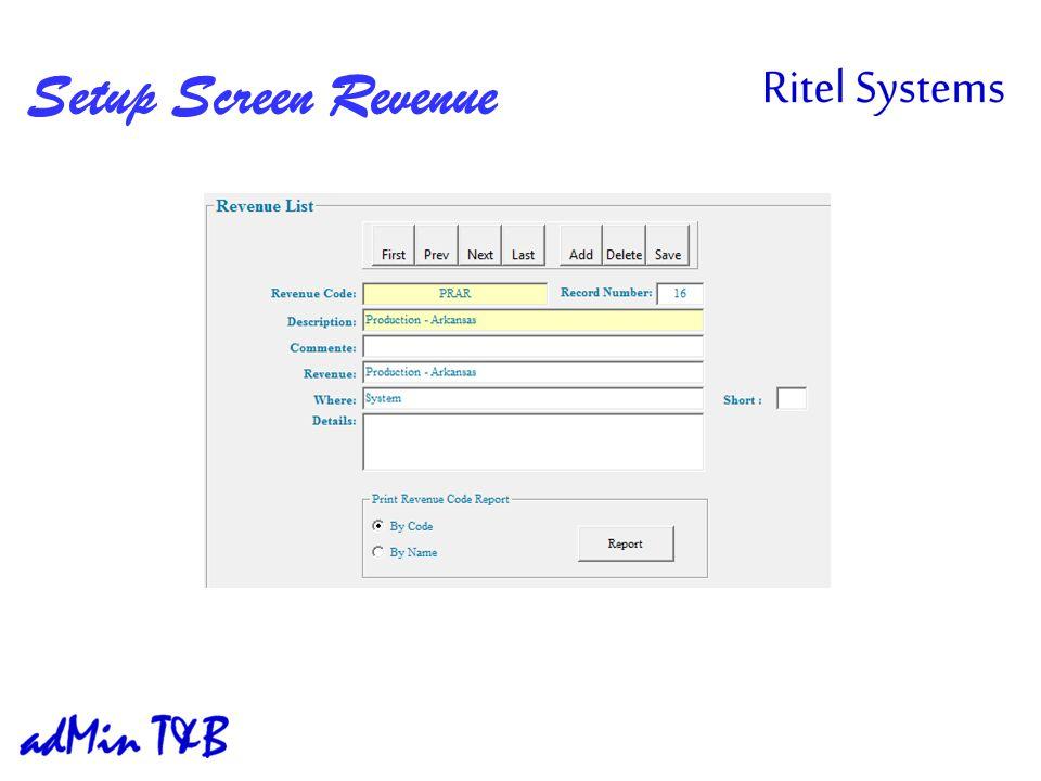 Setup Screen Revenue