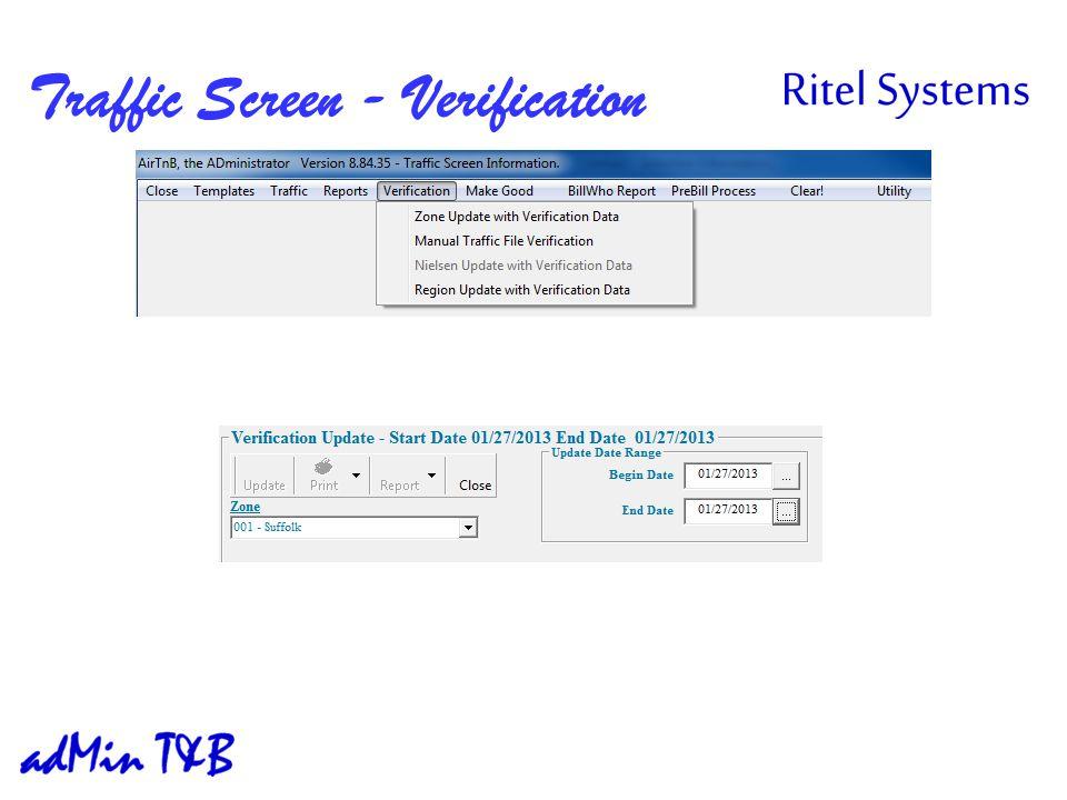 Traffic Screen - Verification