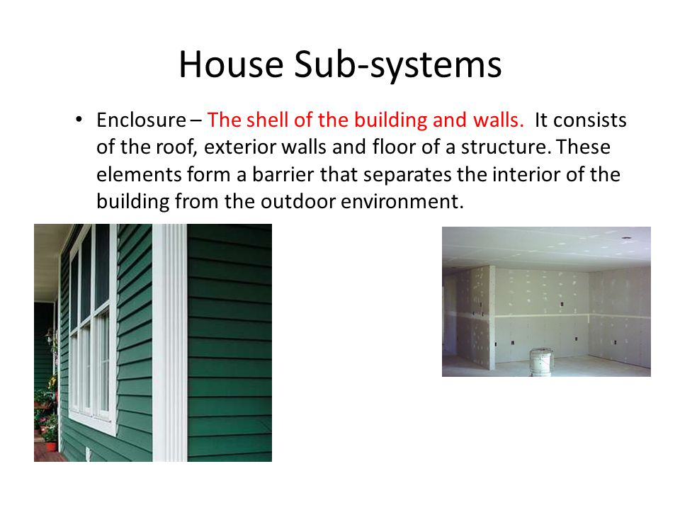 House Sub-systems Enclosure – The shell of the building and walls.