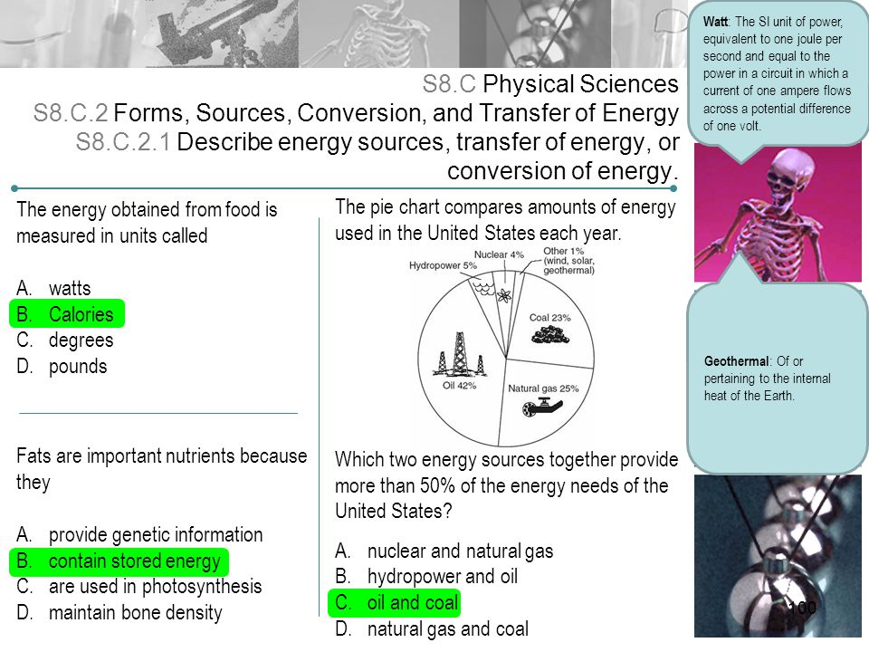 S8.C Physical Sciences S8.C.2 Forms, Sources, Conversion, and Transfer of Energy S8.C.2.1 Describe energy sources, transfer of energy, or conversion o