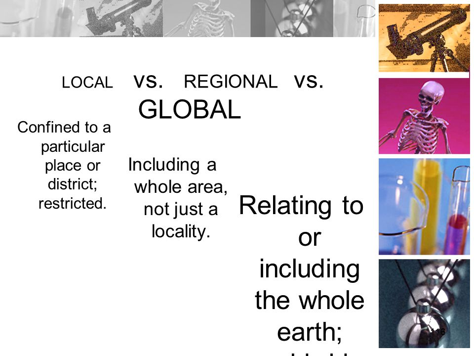 LOCAL vs. REGIONAL vs. GLOBAL Confined to a particular place or district; restricted. Relating to or including the whole earth; worldwide. 116 Includi
