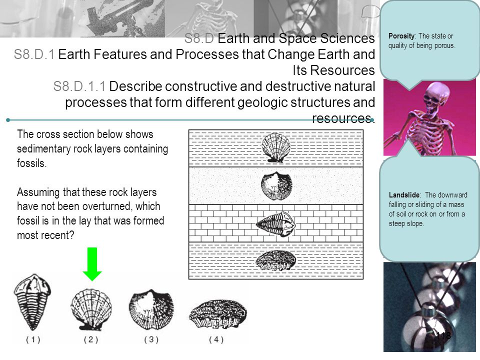 S8.D Earth and Space Sciences S8.D.1 Earth Features and Processes that Change Earth and Its Resources S8.D.1.1 Describe constructive and destructive n
