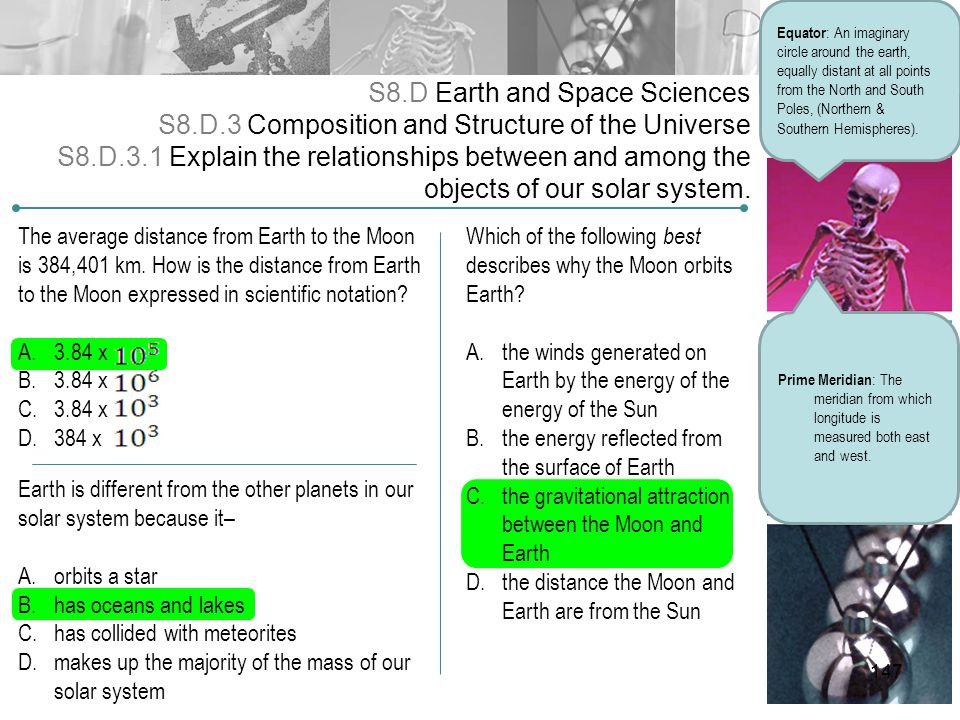 S8.D Earth and Space Sciences S8.D.3 Composition and Structure of the Universe S8.D.3.1 Explain the relationships between and among the objects of our
