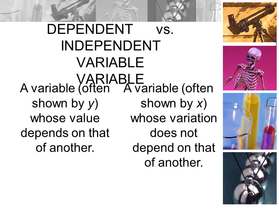 DEPENDENT vs. INDEPENDENT VARIABLE VARIABLE A variable (often shown by y) whose value depends on that of another. A variable (often shown by x) whose