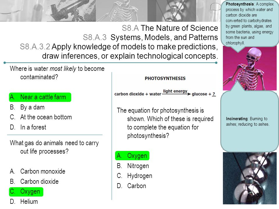 S8.A The Nature of Science S8.A.3 Systems, Models, and Patterns S8.A.3.2 Apply knowledge of models to make predictions, draw inferences, or explain te