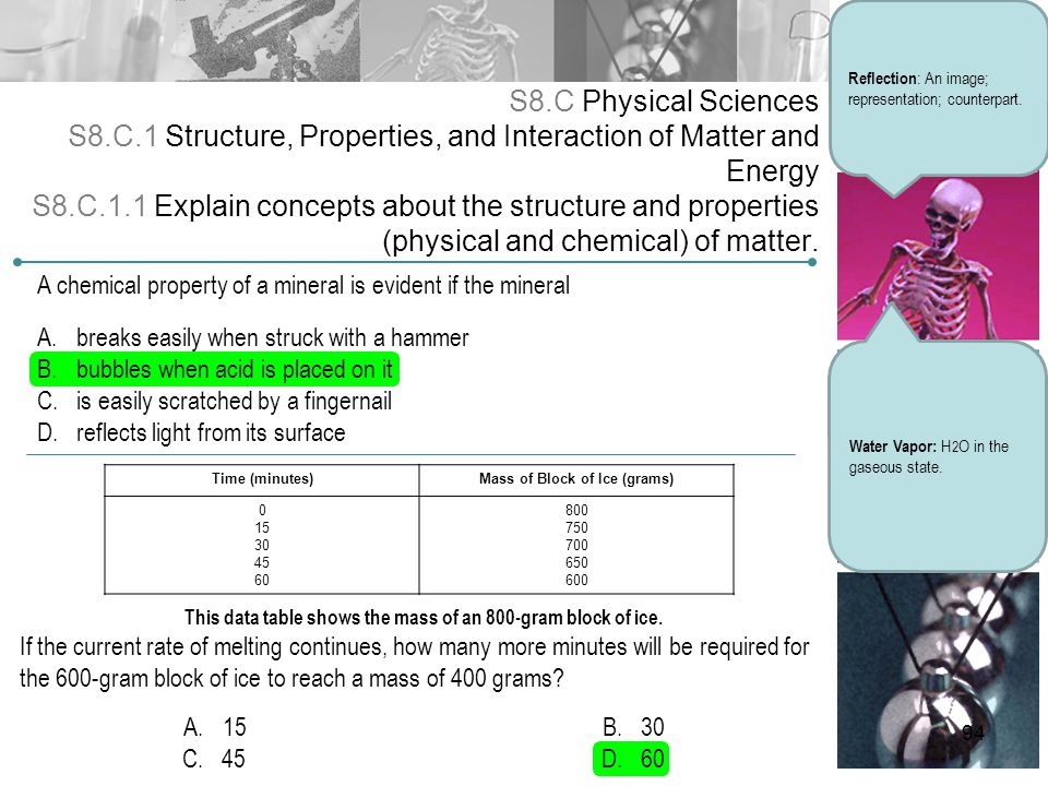 S8.C Physical Sciences S8.C.1 Structure, Properties, and Interaction of Matter and Energy S8.C.1.1 Explain concepts about the structure and properties
