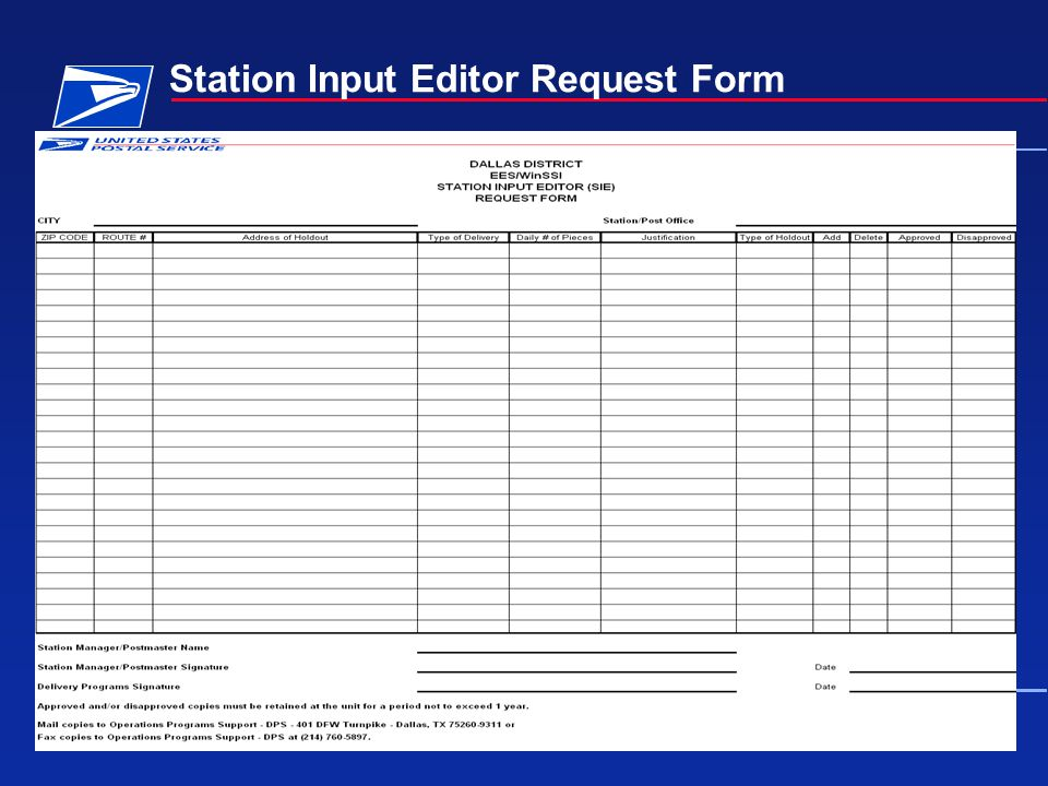 October 13, 2005Electronic Edit Sheet Training11 Station Input Editor Request Form