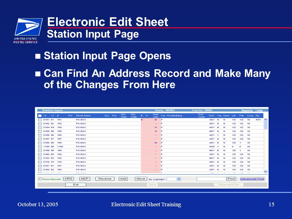 October 13, 2005Electronic Edit Sheet Training15 Electronic Edit Sheet Station Input Page Opens Can Find An Address Record and Make Many of the Change
