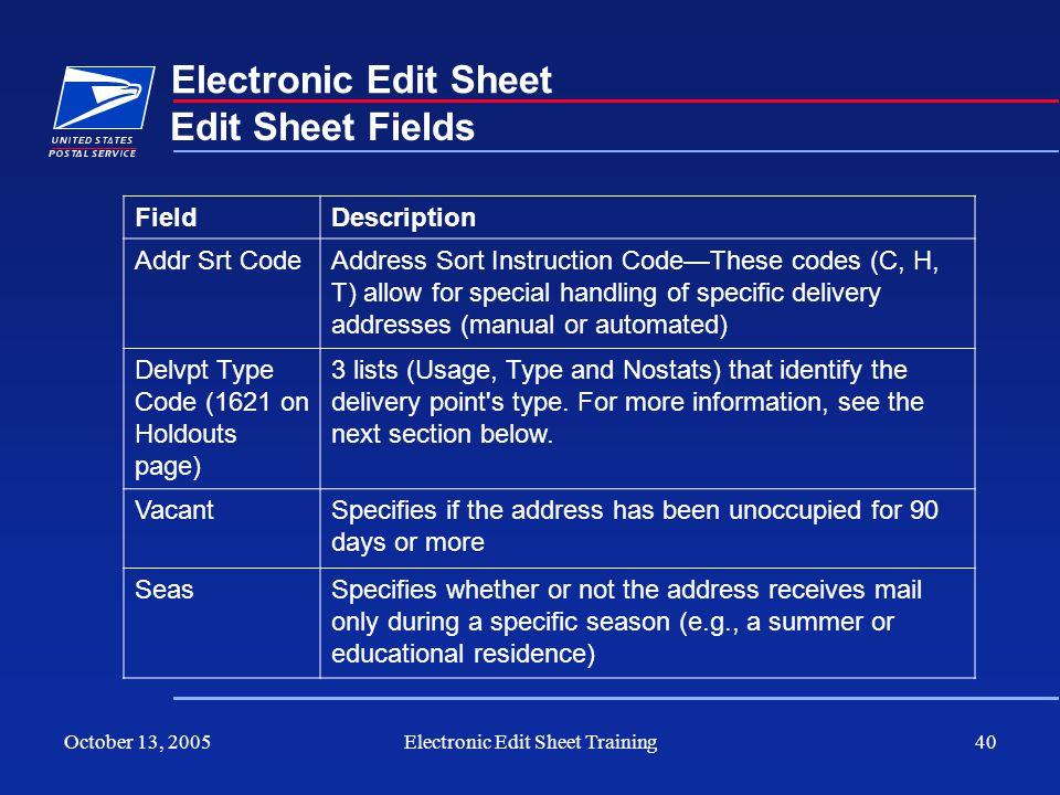 October 13, 2005Electronic Edit Sheet Training40 Electronic Edit Sheet Edit Sheet Fields FieldDescription Addr Srt CodeAddress Sort Instruction CodeTh