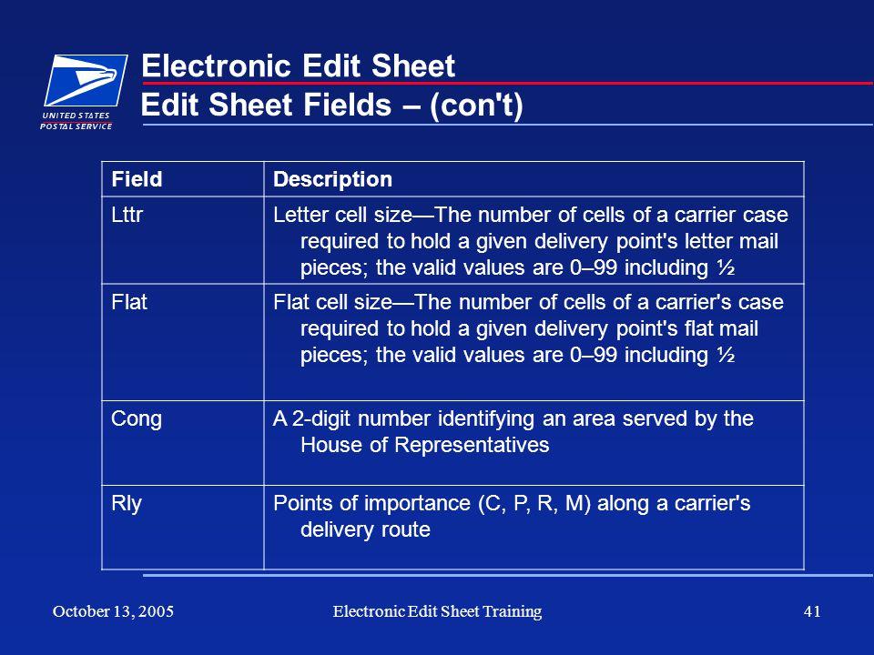 October 13, 2005Electronic Edit Sheet Training41 Electronic Edit Sheet Edit Sheet Fields – (con't) FieldDescription LttrLetter cell sizeThe number of