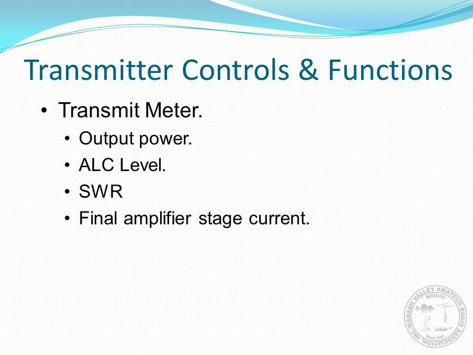 Transmit Meter. Output power. ALC Level. SWR Final amplifier stage current.