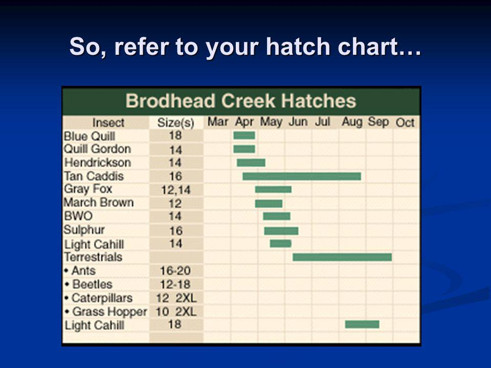 So, refer to your hatch chart…