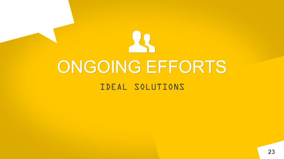 INNOV A IDEAL SOLUTIONS 23 ONGOING EFFORTS