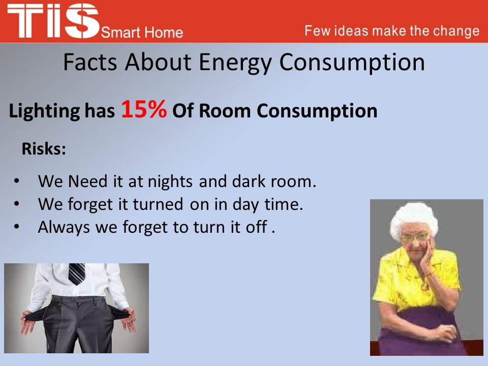 How TIS Can Save Energy It Can Reduce 20-60 % of Electricity consumptions By Using Energy servant in Every rooms