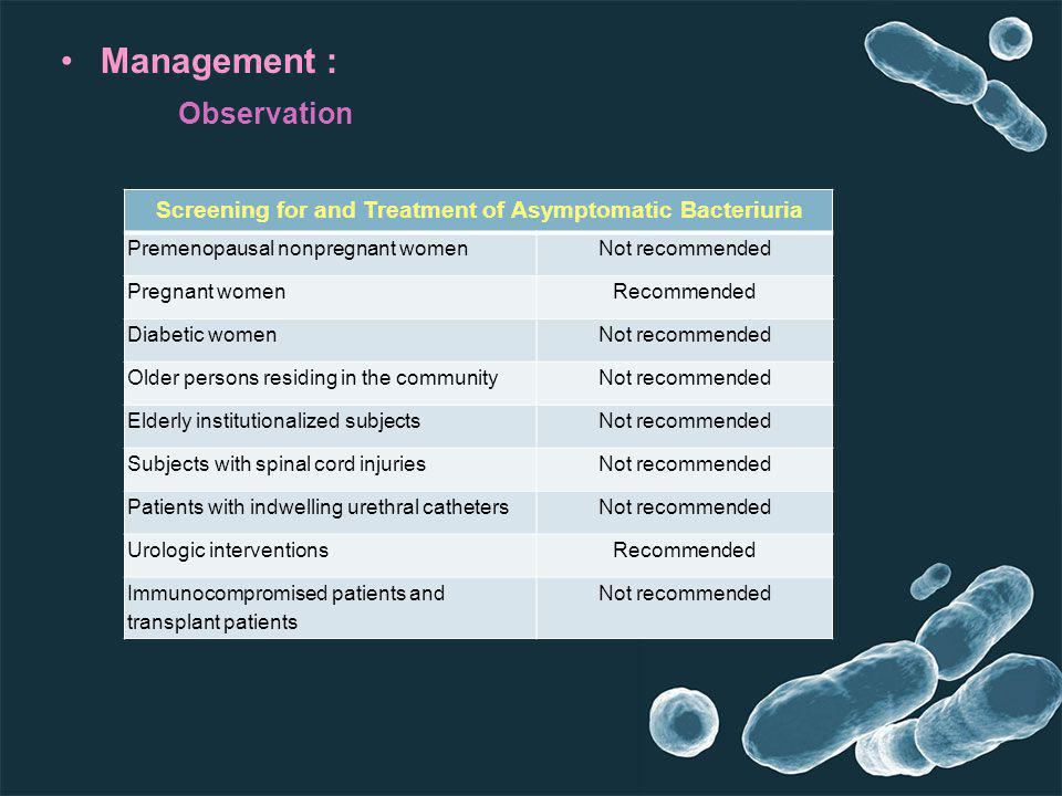 Management : Observation Screening for and Treatment of Asymptomatic Bacteriuria Not recommendedPremenopausal nonpregnant women RecommendedPregnant wo