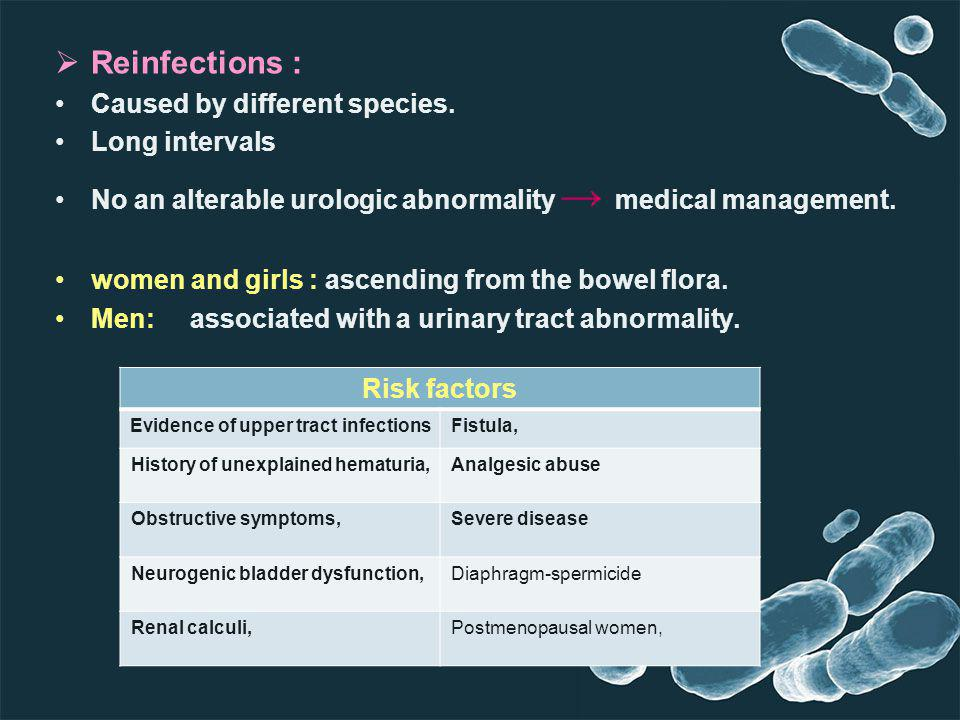 Reinfections : Caused by different species. Long intervals No an alterable urologic abnormality medical management. women and girls : ascending from t