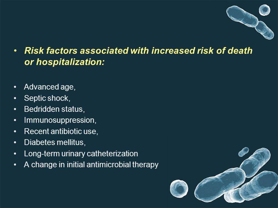 Risk factors associated with increased risk of death or hospitalization: Advanced age, Septic shock, Bedridden status, Immunosuppression, Recent antib