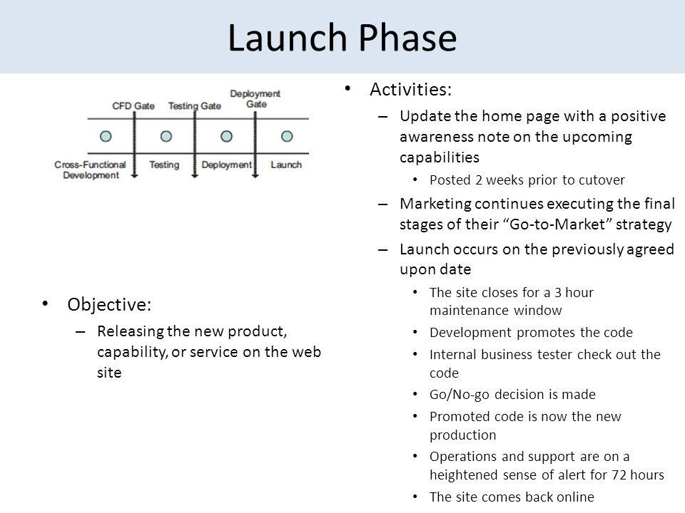 Launch Phase Activities: – Update the home page with a positive awareness note on the upcoming capabilities Posted 2 weeks prior to cutover – Marketing continues executing the final stages of their Go-to-Market strategy – Launch occurs on the previously agreed upon date The site closes for a 3 hour maintenance window Development promotes the code Internal business tester check out the code Go/No-go decision is made Promoted code is now the new production Operations and support are on a heightened sense of alert for 72 hours The site comes back online Objective: – Releasing the new product, capability, or service on the web site