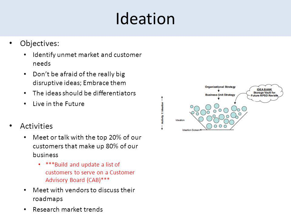 Ideation Objectives: Identify unmet market and customer needs Dont be afraid of the really big disruptive ideas; Embrace them The ideas should be differentiators Live in the Future Activities Meet or talk with the top 20% of our customers that make up 80% of our business ***Build and update a list of customers to serve on a Customer Advisory Board (CAB)*** Meet with vendors to discuss their roadmaps Research market trends