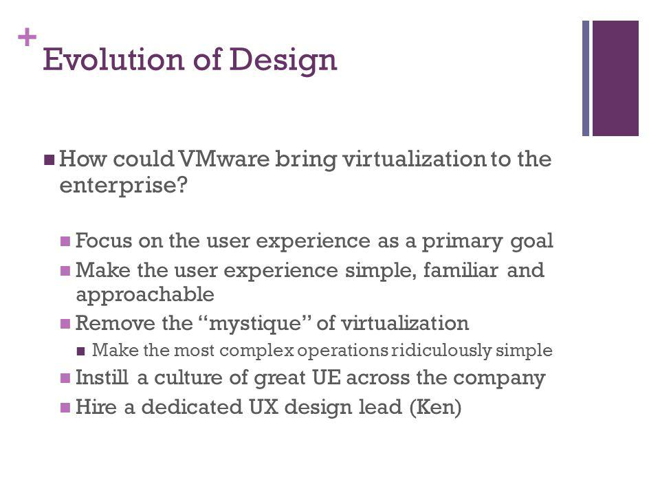+ Evolution of Design How could VMware bring virtualization to the enterprise? Focus on the user experience as a primary goal Make the user experience