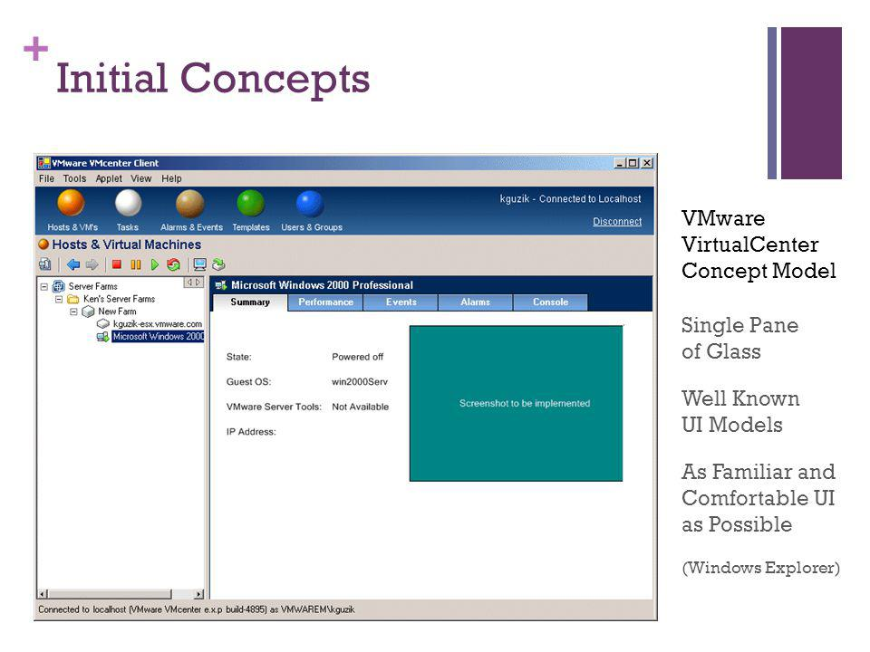 + Initial Concepts Single Pane of Glass As Familiar and Comfortable UI as Possible (Windows Explorer) Well Known UI Models VMware VirtualCenter Concep