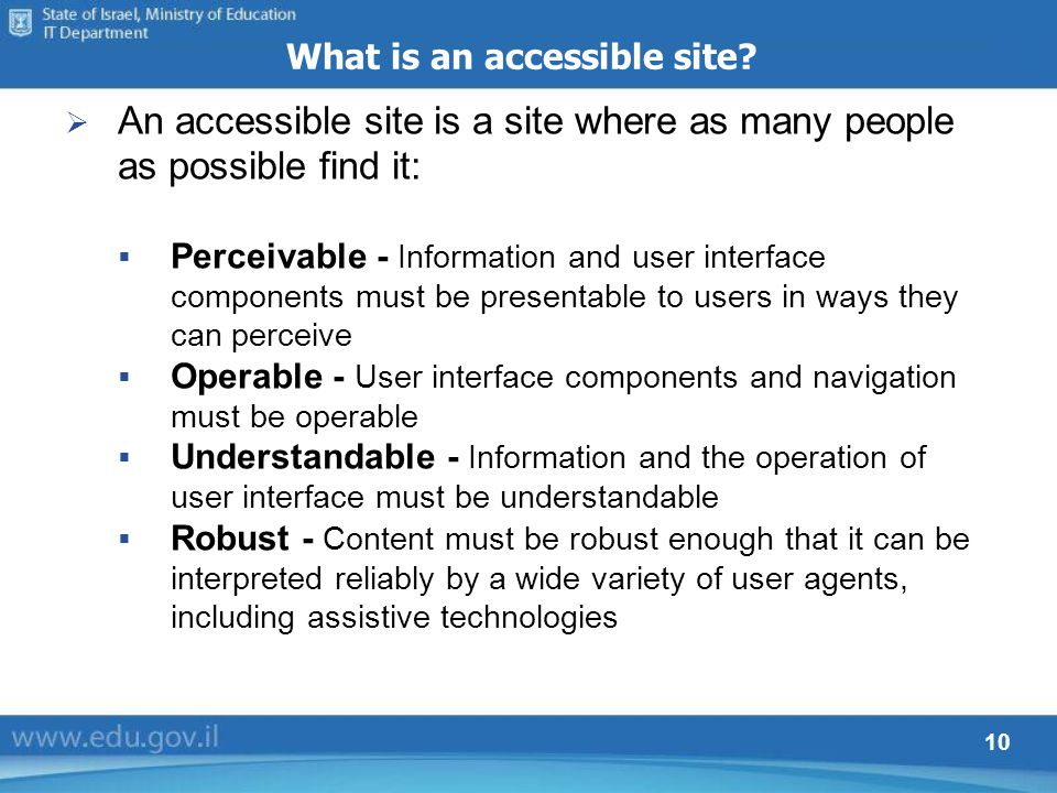 10 What is an accessible site.