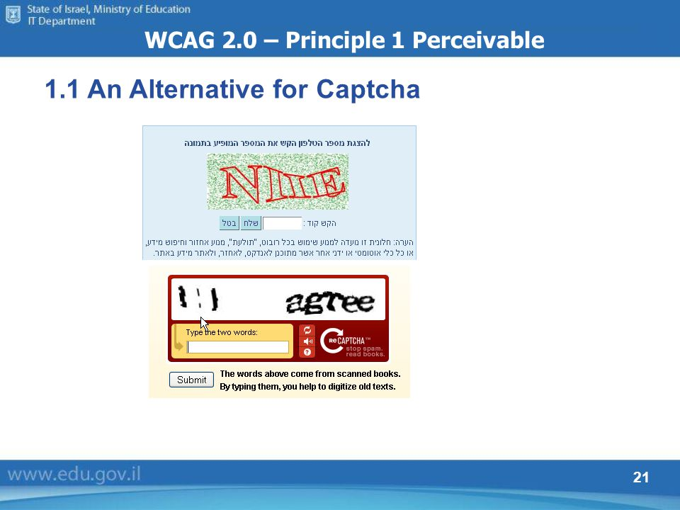 21 WCAG 2.0 – Principle 1 Perceivable 1.1 An Alternative for Captcha