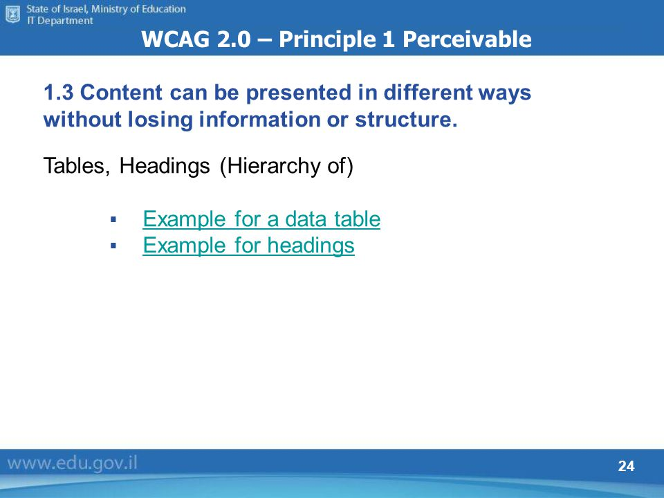 24 WCAG 2.0 – Principle 1 Perceivable 1.3 Content can be presented in different ways without losing information or structure. Tables, Headings (Hierar