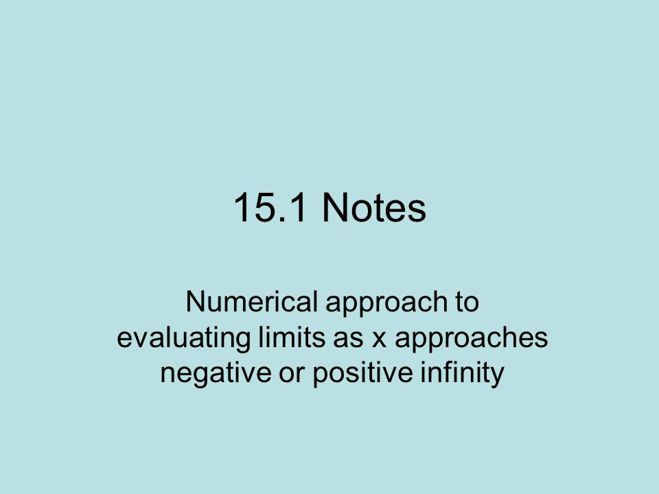 15.1 Notes Numerical approach to evaluating limits as x approaches negative or positive infinity