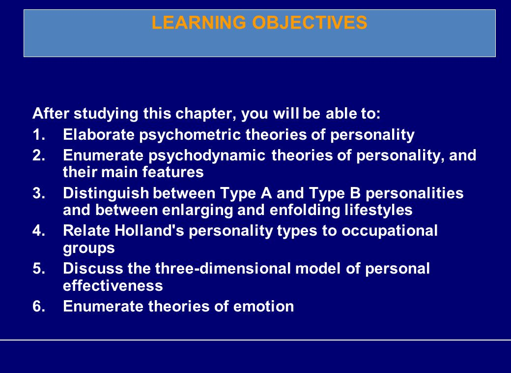 1 Chapter 5 Personality and personal effectiveness