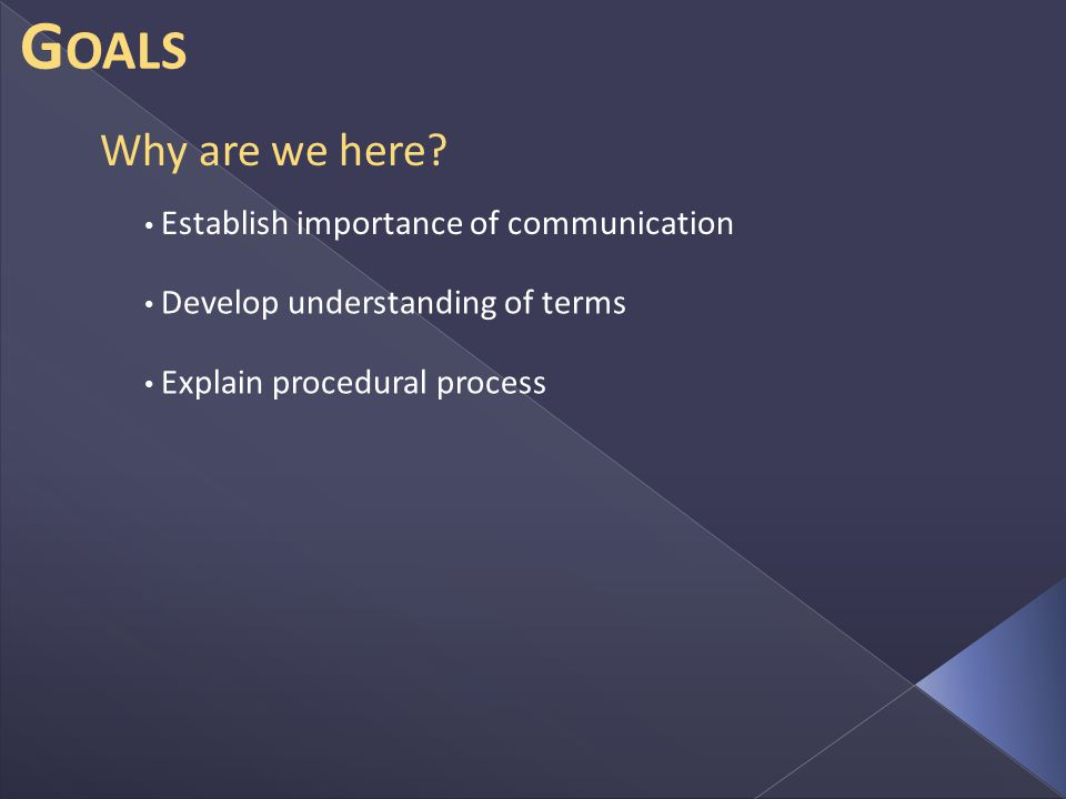 G OALS Establish importance of communication Develop understanding of terms Explain procedural process Why are we here