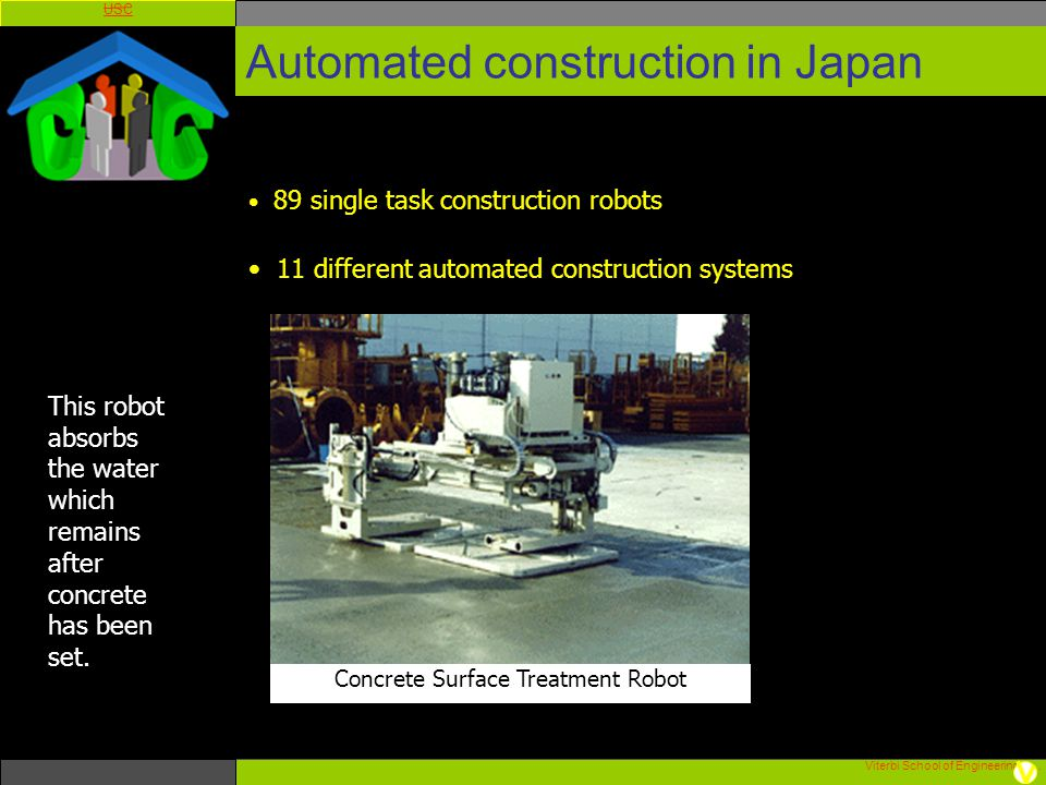 Viterbi School of Engineering. USC Automated construction in Japan 89 single task construction robots 11 different automated construction systems Conc