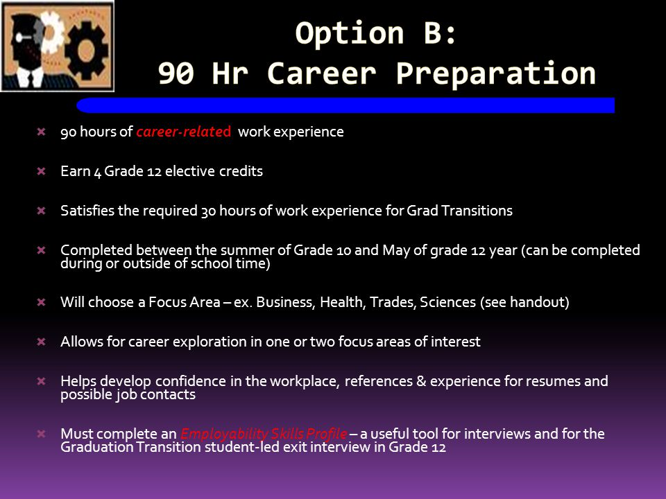 Option B: 90 Hr Career Preparation 90 hours of career-related work experience Earn 4 Grade 12 elective credits Satisfies the required 30 hours of work