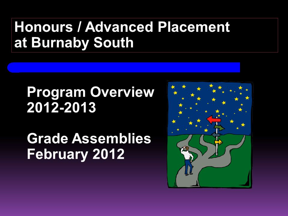 Program Overview 2012-2013 Grade Assemblies February 2012 Honours / Advanced Placement at Burnaby South