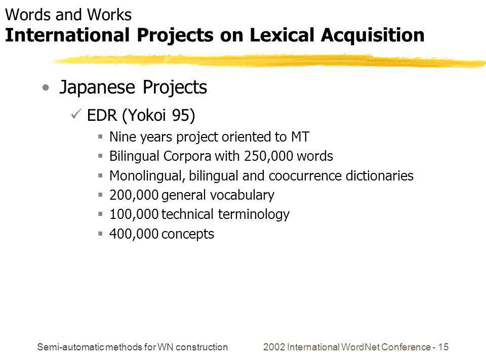 Semi-automatic methods for WN construction 2002 International WordNet Conference - 15 Japanese Projects EDR (Yokoi 95) Nine years project oriented to MT Bilingual Corpora with 250,000 words Monolingual, bilingual and coocurrence dictionaries 200,000 general vocabulary 100,000 technical terminology 400,000 concepts Words and Works International Projects on Lexical Acquisition