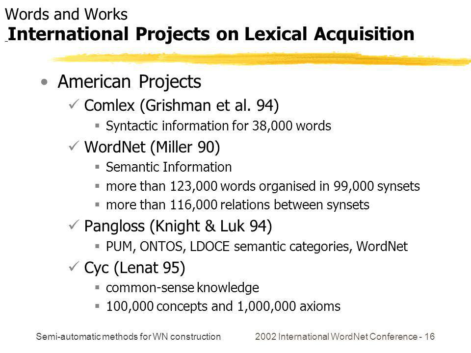 Semi-automatic methods for WN construction 2002 International WordNet Conference - 16 American Projects Comlex (Grishman et al. 94) Syntactic informat