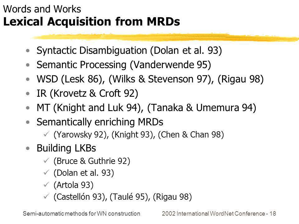 Semi-automatic methods for WN construction 2002 International WordNet Conference - 18 Syntactic Disambiguation (Dolan et al. 93) Semantic Processing (