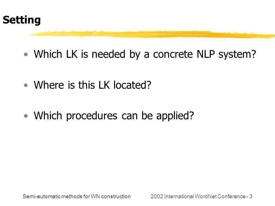 Semi-automatic methods for WN construction 2002 International WordNet Conference - 3 Which LK is needed by a concrete NLP system? Where is this LK loc
