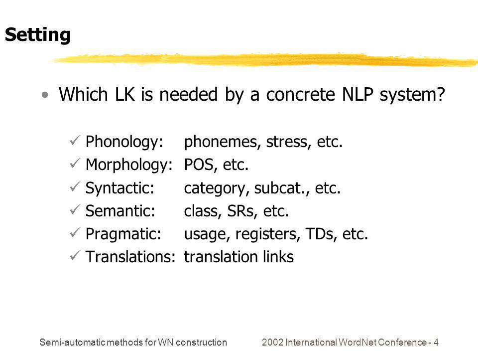 Semi-automatic methods for WN construction 2002 International WordNet Conference - 4 Which LK is needed by a concrete NLP system? Phonology: phonemes,