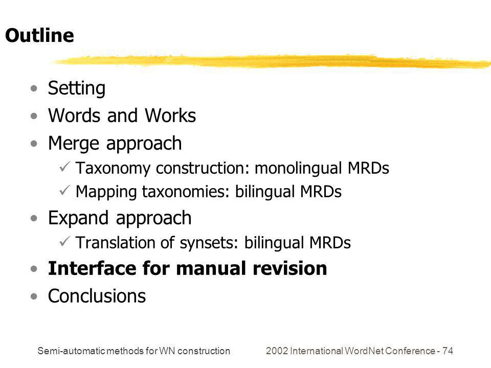 Semi-automatic methods for WN construction 2002 International WordNet Conference - 74 Setting Words and Works Merge approach Taxonomy construction: monolingual MRDs Mapping taxonomies: bilingual MRDs Expand approach Translation of synsets: bilingual MRDs Interface for manual revision Conclusions Outline