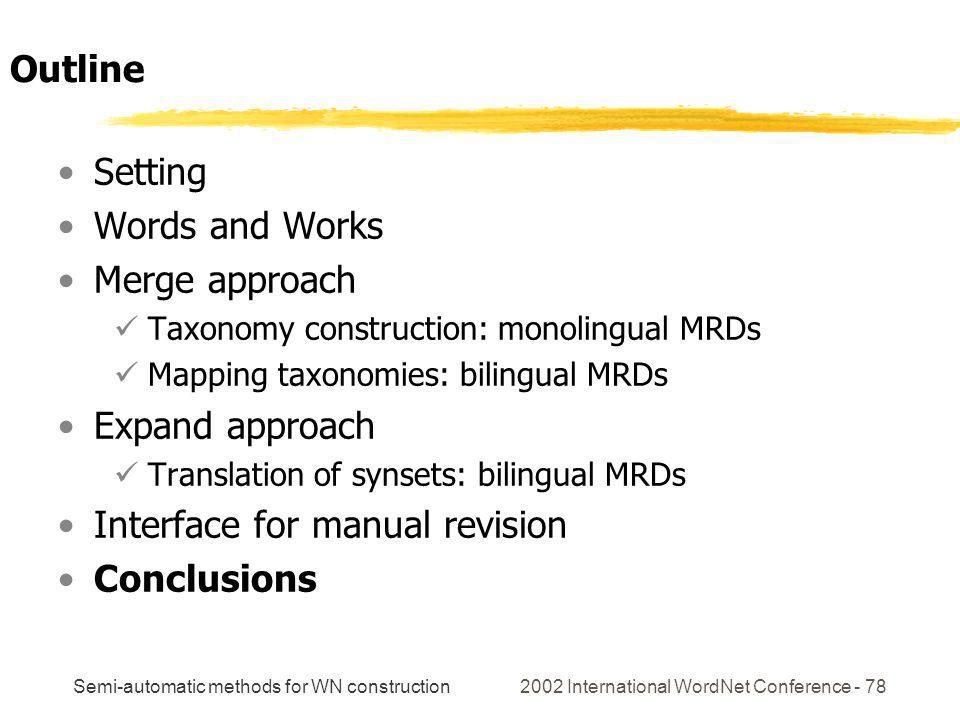 Semi-automatic methods for WN construction 2002 International WordNet Conference - 78 Setting Words and Works Merge approach Taxonomy construction: monolingual MRDs Mapping taxonomies: bilingual MRDs Expand approach Translation of synsets: bilingual MRDs Interface for manual revision Conclusions Outline