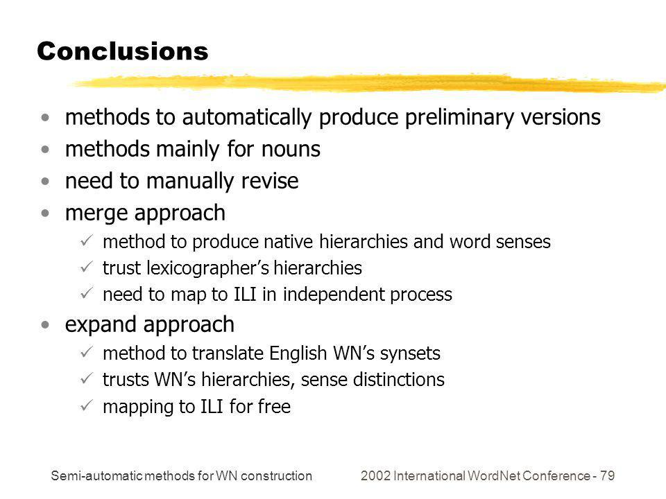 Semi-automatic methods for WN construction 2002 International WordNet Conference - 79 Conclusions methods to automatically produce preliminary version