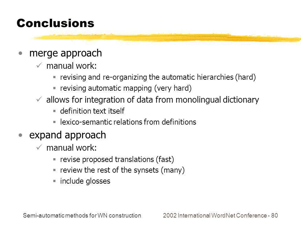 Semi-automatic methods for WN construction 2002 International WordNet Conference - 80 Conclusions merge approach manual work: revising and re-organizing the automatic hierarchies (hard) revising automatic mapping (very hard) allows for integration of data from monolingual dictionary definition text itself lexico-semantic relations from definitions expand approach manual work: revise proposed translations (fast) review the rest of the synsets (many) include glosses