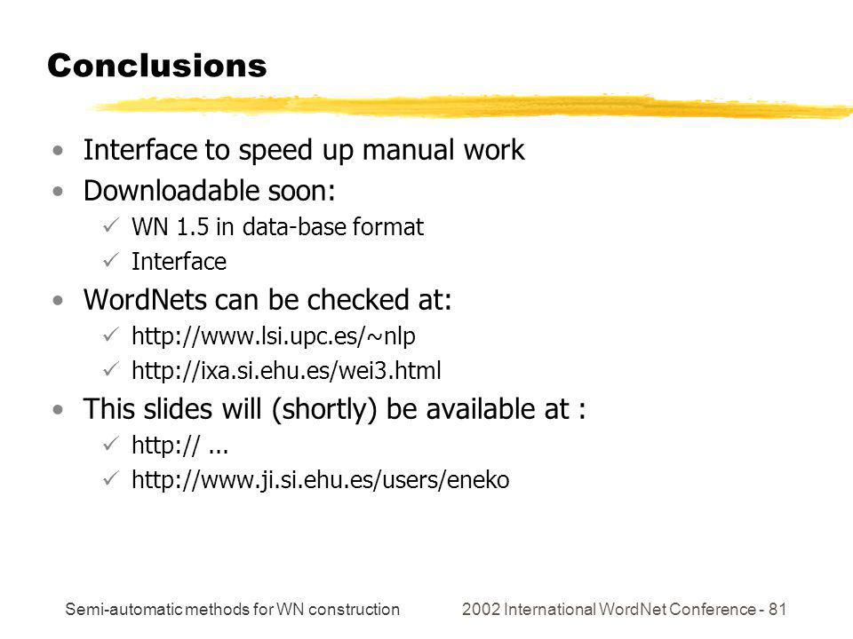 Semi-automatic methods for WN construction 2002 International WordNet Conference - 81 Conclusions Interface to speed up manual work Downloadable soon: WN 1.5 in data-base format Interface WordNets can be checked at: http://www.lsi.upc.es/~nlp http://ixa.si.ehu.es/wei3.html This slides will (shortly) be available at : http://...
