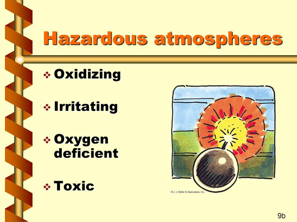 Hazardous atmospheres v Oxidizing v Irritating v Oxygen deficient v Toxic 9b